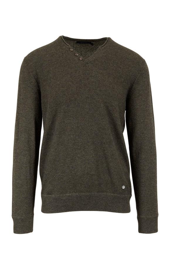 Raffi  Black Wool & Cashmere Knit Henley