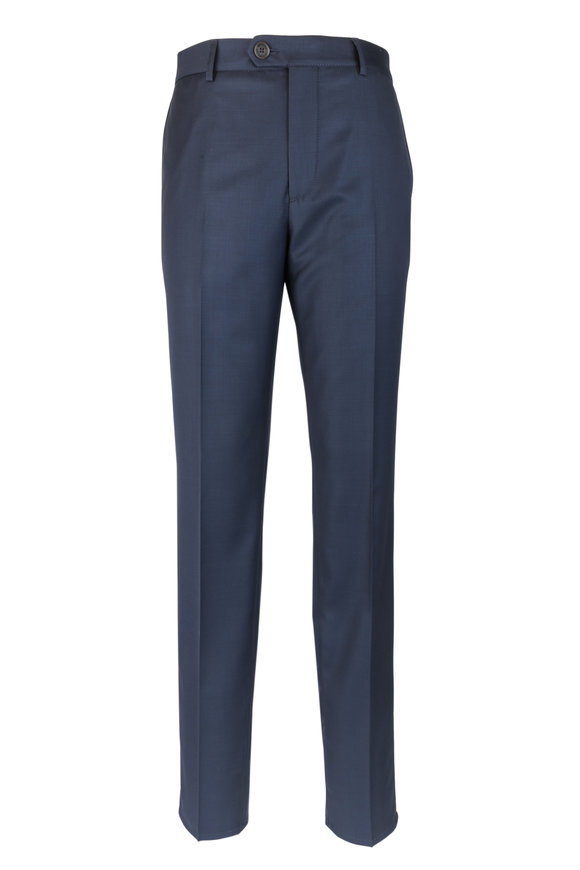 Brunello Cucinelli Navy Blue Wool Flat Front Trousers