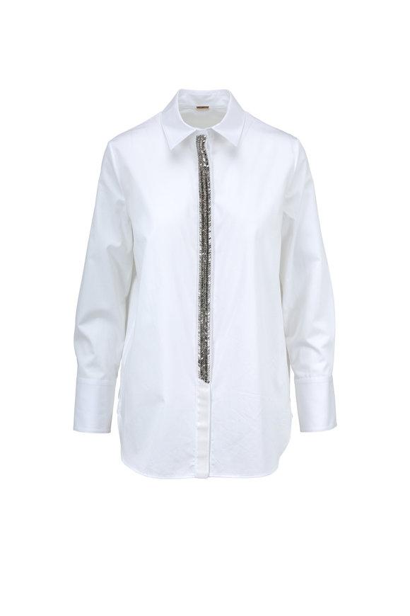 Adam Lippes White Cotton Jeweled Placket Blouse