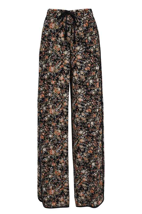 Adam Lippes Black Silk Floral Print Lounge Pant