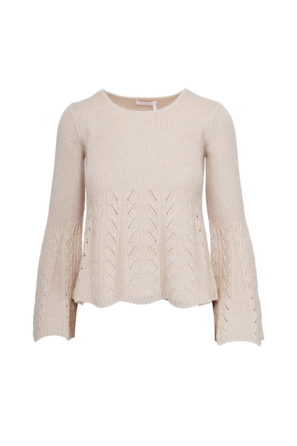 See by Chloé Dark Ivory Wool Bell Sleeve Sweater