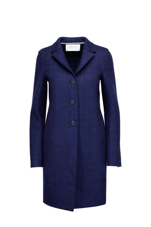 Harris Wharf Navy Wool Three-Button Coat