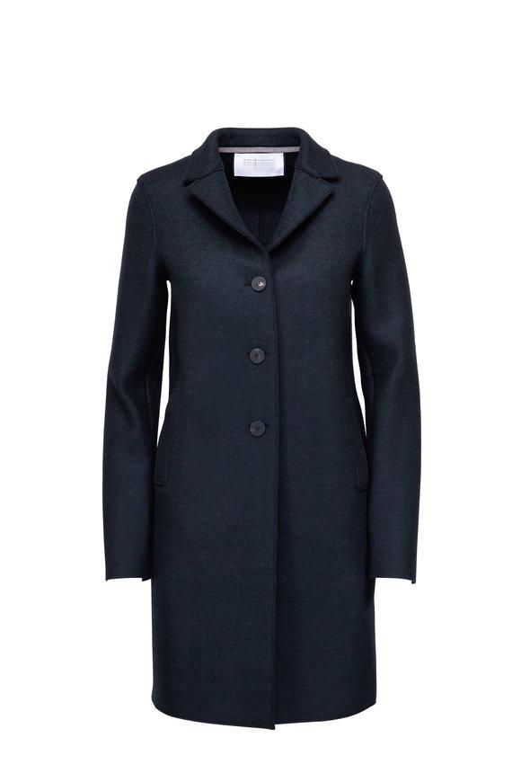 Harris Wharf Dark Green Wool Three-Button Coat