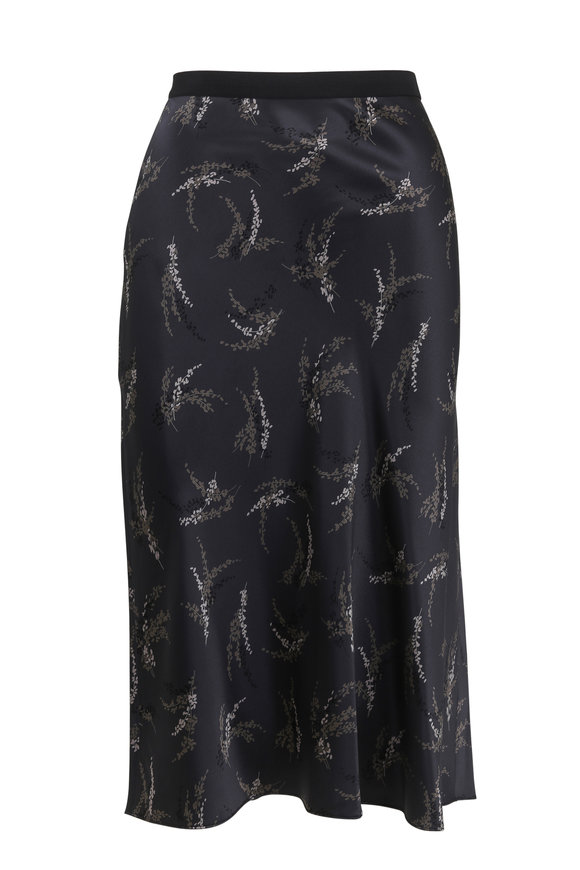 Vince Charcoal Silk Floral Slip Skirt
