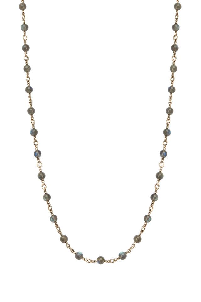 White Gold Labradorite Bead Chain Necklace