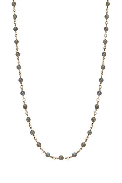 Sylva & Cie - White Gold Labradorite Bead Chain Necklace