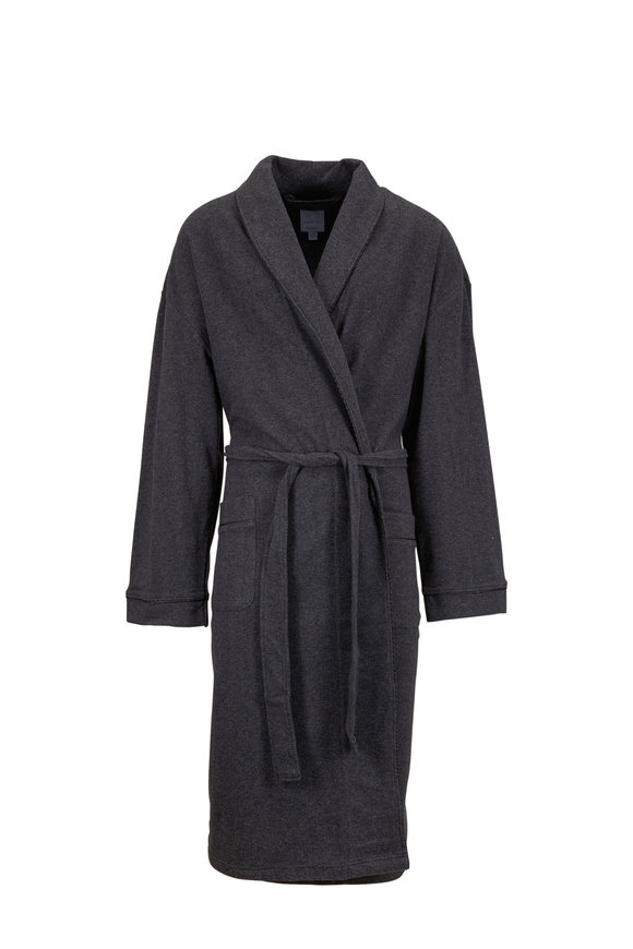 Majestic Charcoal Gray Herringbone Robe