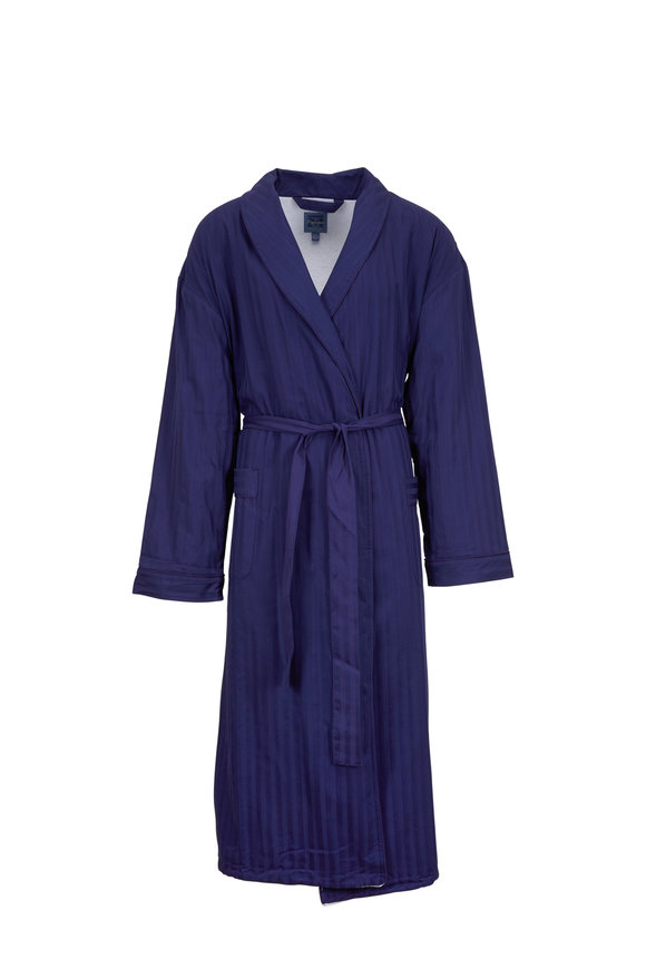 Majestic Navy Blue Tonal Striped Robe