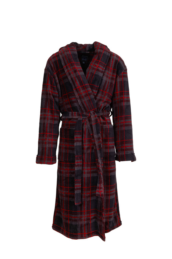 Majestic Gray & Red Plaid Robe
