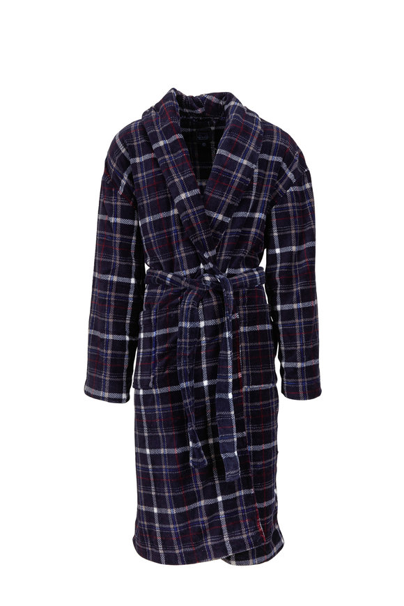 Majestic Navy Blue Plaid Robe