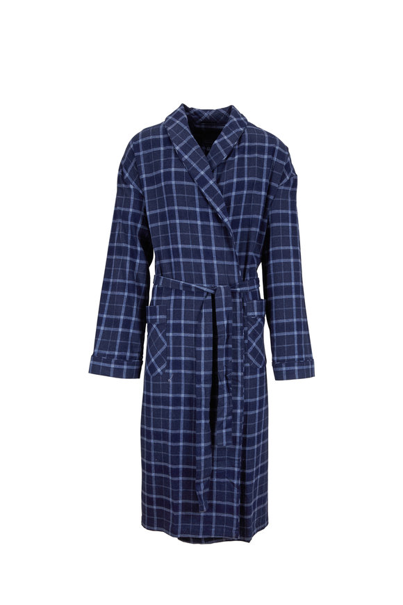 Majestic Dark Blue Plaid Robe