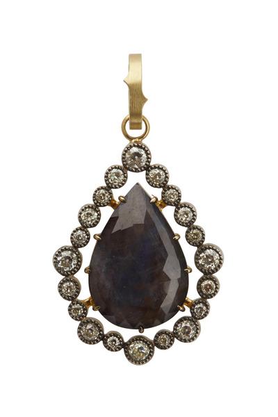 Sylva & Cie - Yellow Gold Sapphire & Diamond Pendant