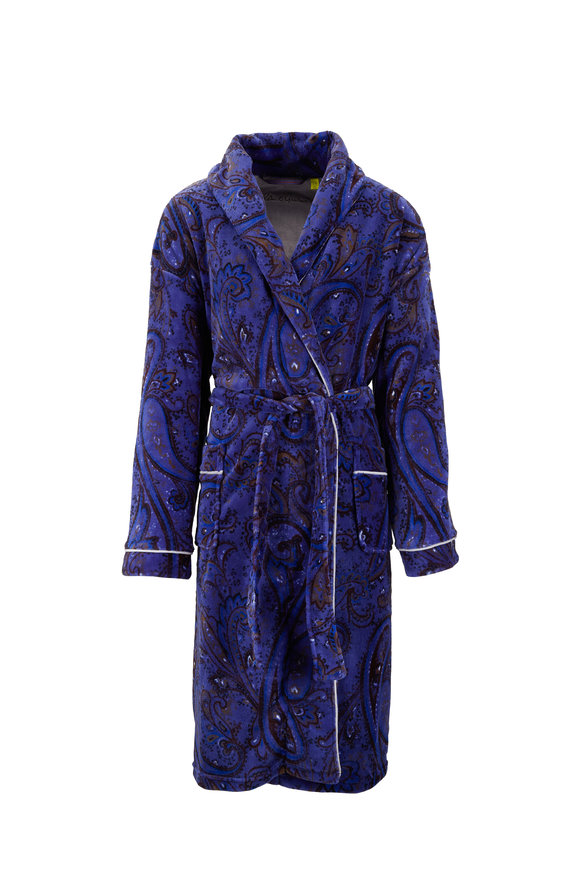 Majestic Blue Paisley Fleece Robe