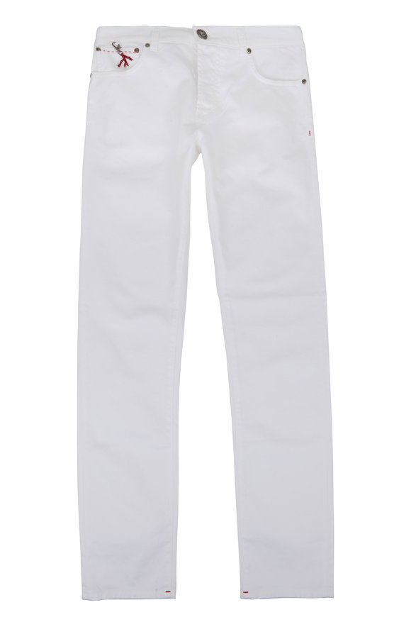 Isaia White Five-Pocket Pant