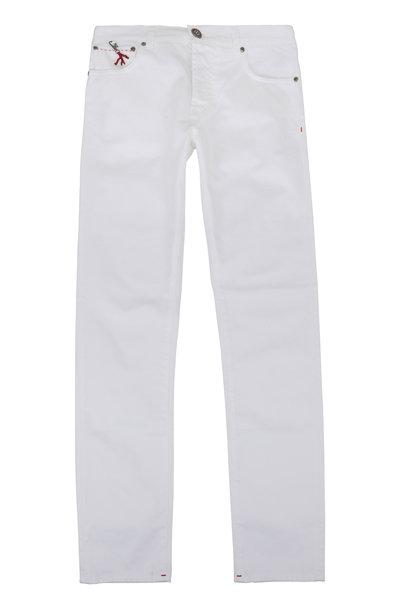 Isaia - White Five-Pocket Pant