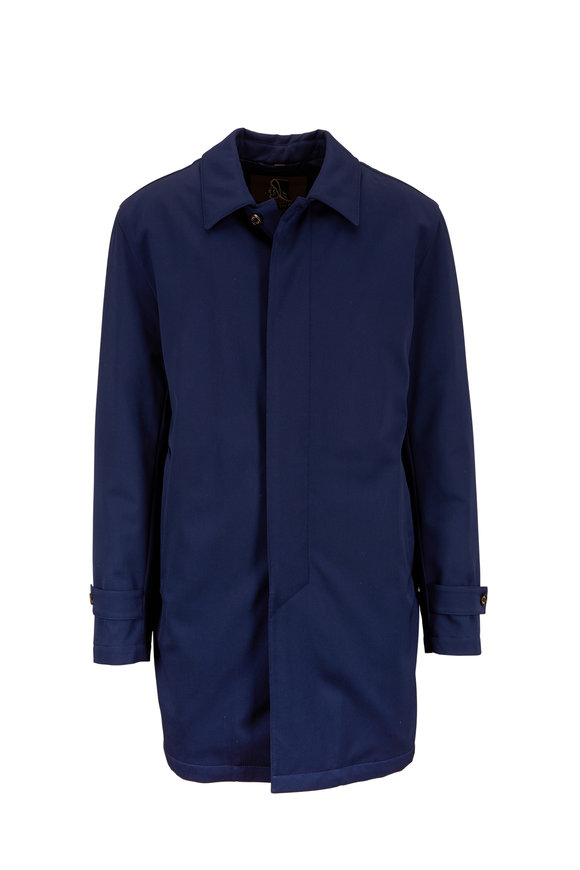 Sealup Navy Blue Stretch Wool Trench Coat