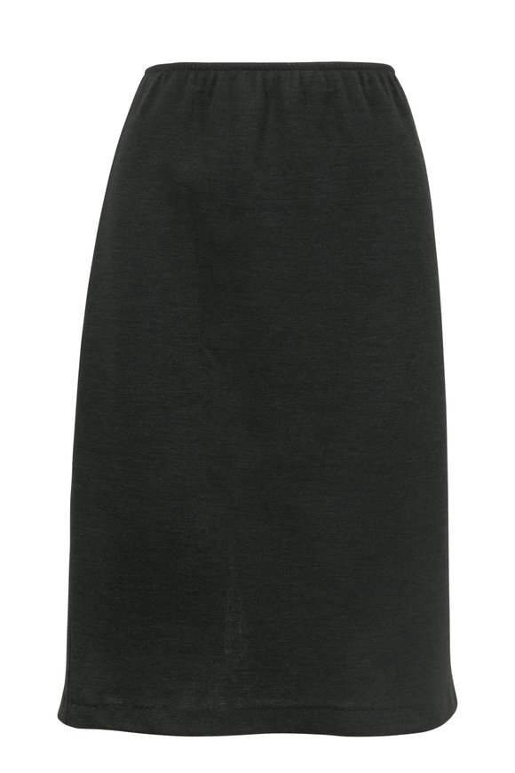 Peter Cohen Dark Green Double-Faced Wool Pull-On Skirt