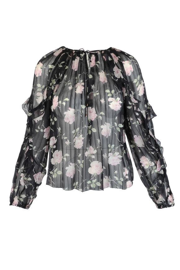 Ulla Johnson Azeala Black Silk Rose Print Blouse