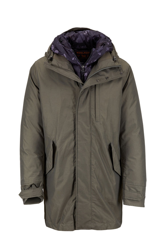 Woolrich Mountain Olive Green Gore-Tex® 3-In-1 Parka