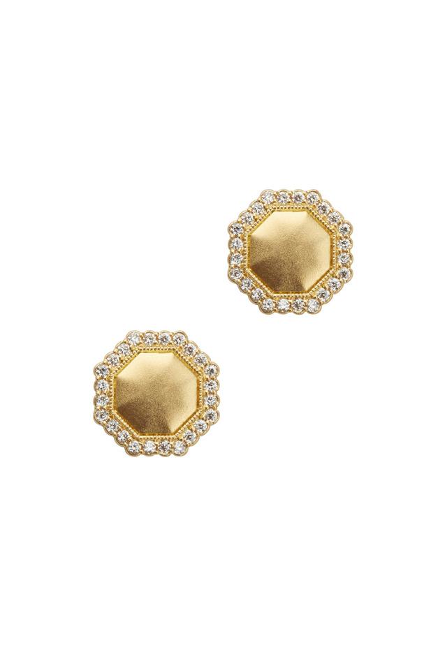 Yellow Gold Octagon Diamond Stud Earrings