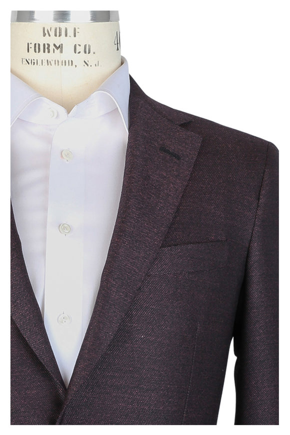 Oxxford Clothes Eggplant Wool Hopsack Sportcoat