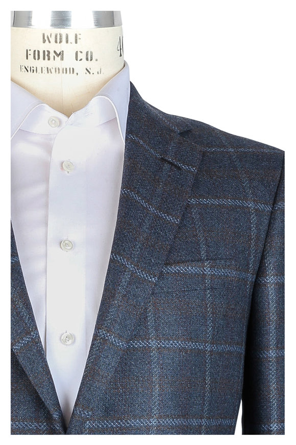 Oxxford Clothes Teal Windowpane Cashmere Sportcoat