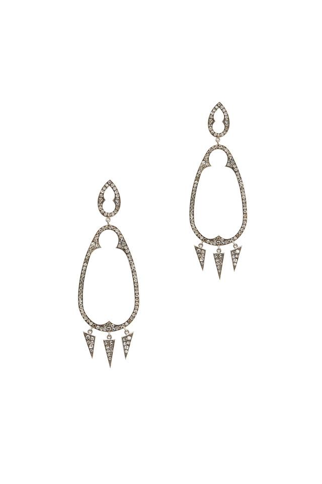 White Gold White Diamond Gypsy Earrings