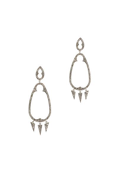 Sylva & Cie - White Gold White Diamond Gypsy Earrings