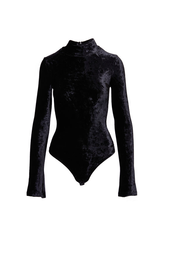 Getting Back To Square One Black Velvet Turtleneck Bodysuit