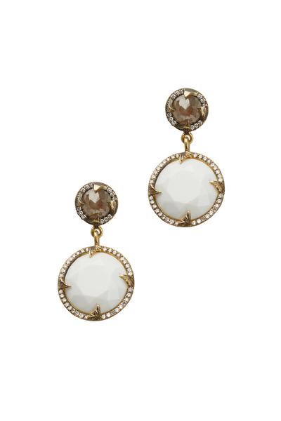Sylva & Cie - Yellow Gold Cacholong Opal & Diamond Drop Earrings
