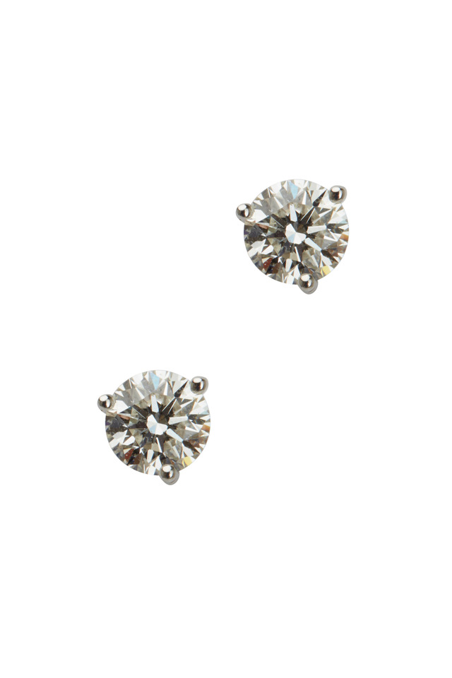 White Diamond Stud Earrings