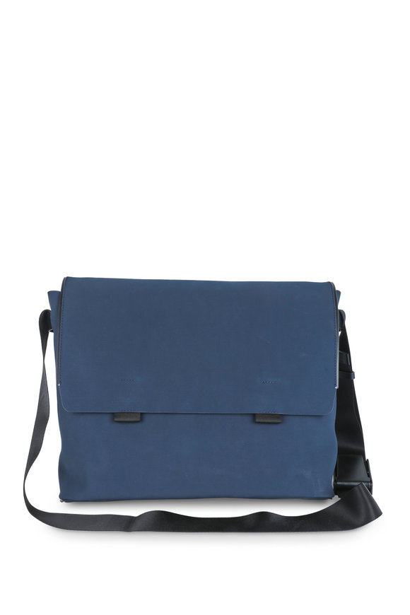 Troubadour Navy Blue Coated Canvas Messenger Bag