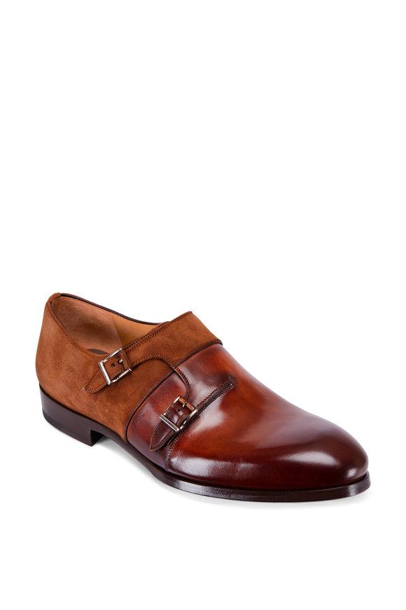 Magnanni Orville Cognac Leather & Suede Double Monk Shoe