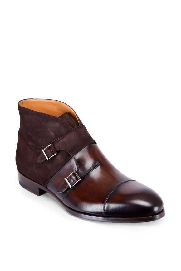 Magnanni Octavian Brown Leather & Suede Double Monk Boot