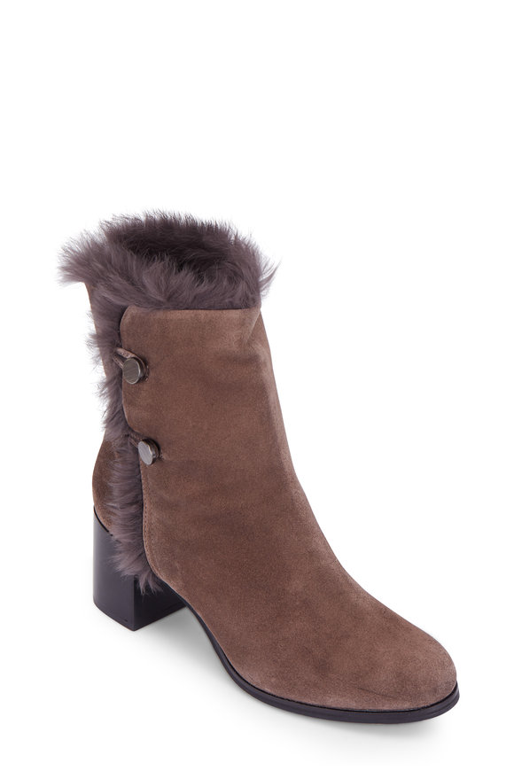 Aquatalia Evangeline Anthracite Suede Fur Trim Boot, 60mm