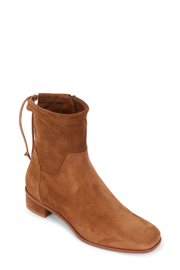 Aquatalia Lisa Walnut Suede Tie-Back Ankle Boot, 30mm