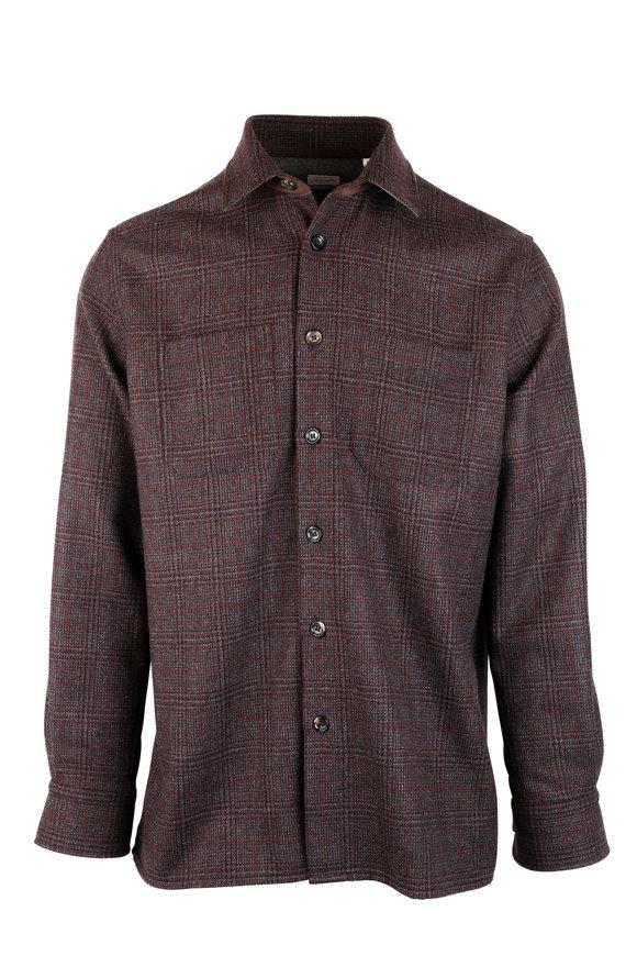 Luciano Barbera Brown Windowpane Wool Overshirt