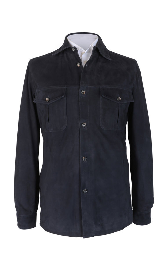 Luciano Barbera Navy Blue Suede Overshirt
