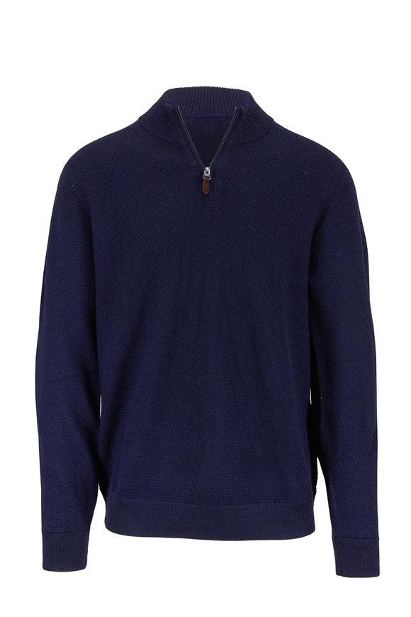 Raffi  Navy Waffle Stitch Merino Wool Quarter-Zip