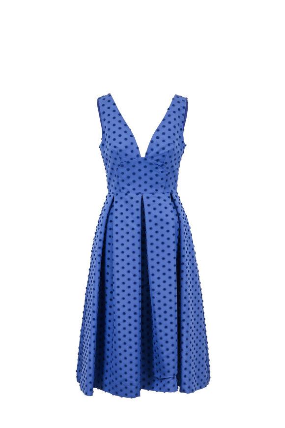 Lela Rose Ocean Silk Faille Flocked Dot Sleeveless Dress