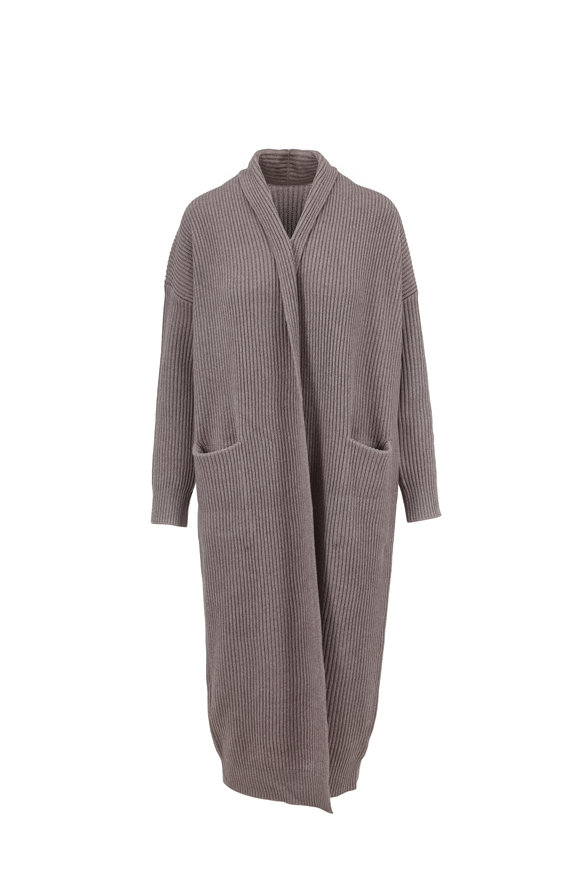 Vince Taupe Ribbed Knit Sweater Robe