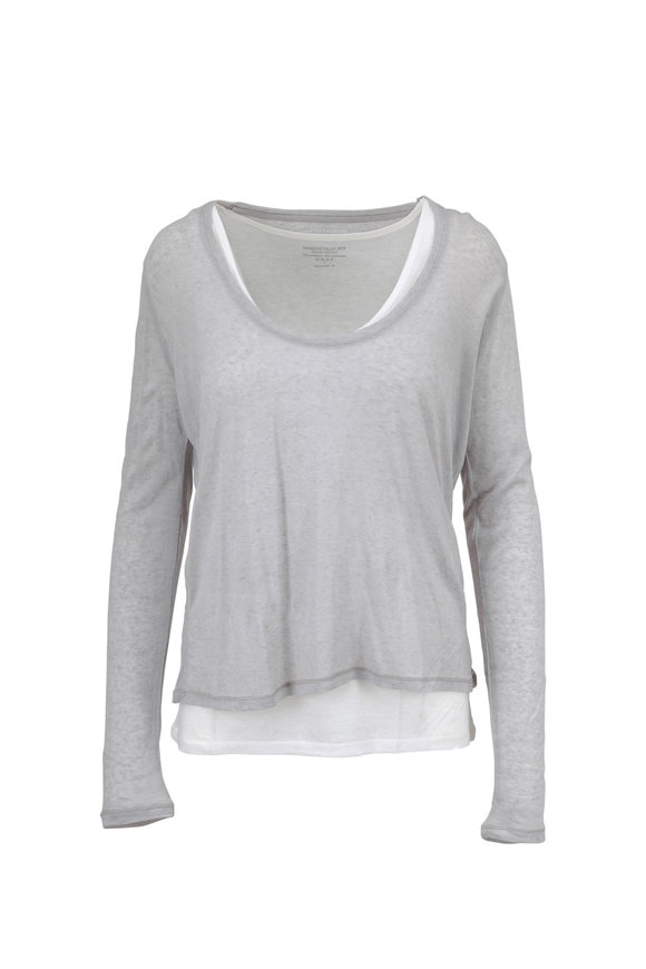 Majestic Pearl Gray Double Layer Scoop Neck Top