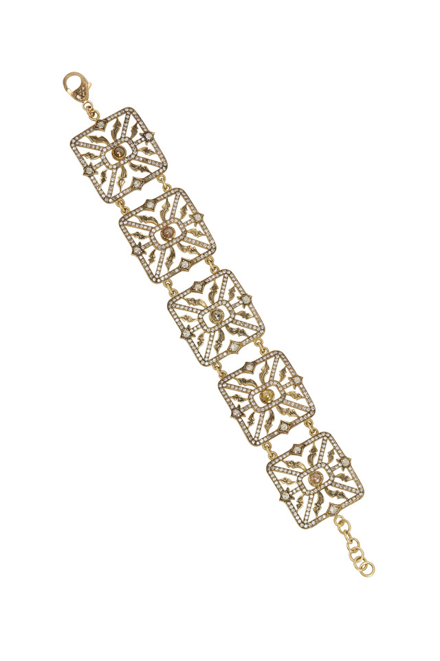 Yellow Gold Rough & White Diamond Station Necklace