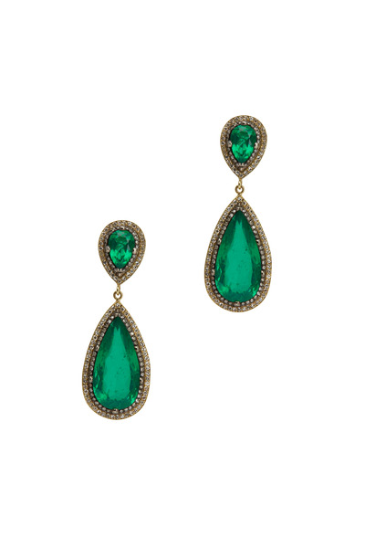 Sylva & Cie - Gold & Silver Green Beryl & White Diamond Earrings