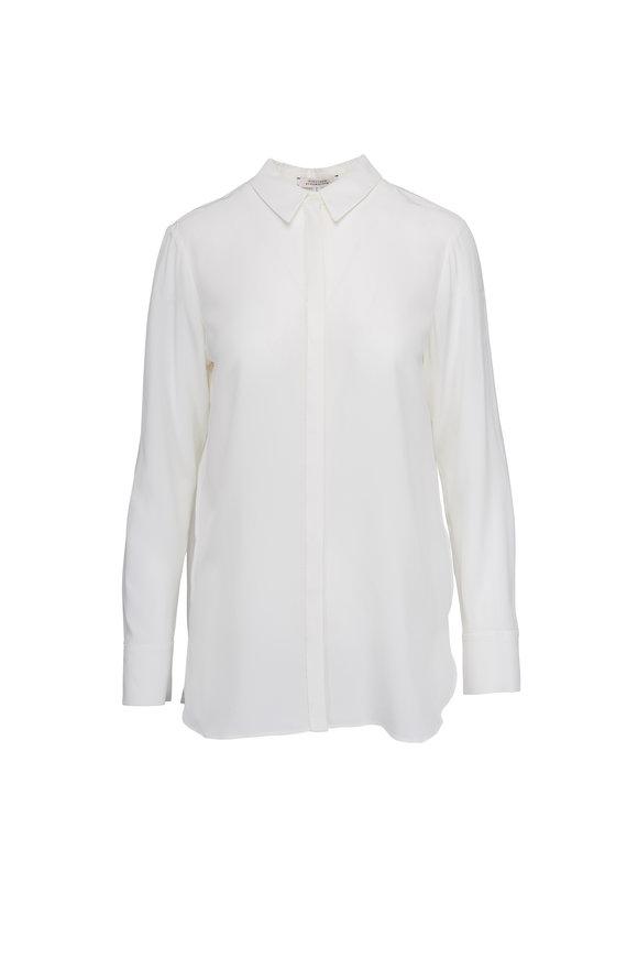 Dorothee Schumacher Linear Seduction White Silk Blouse