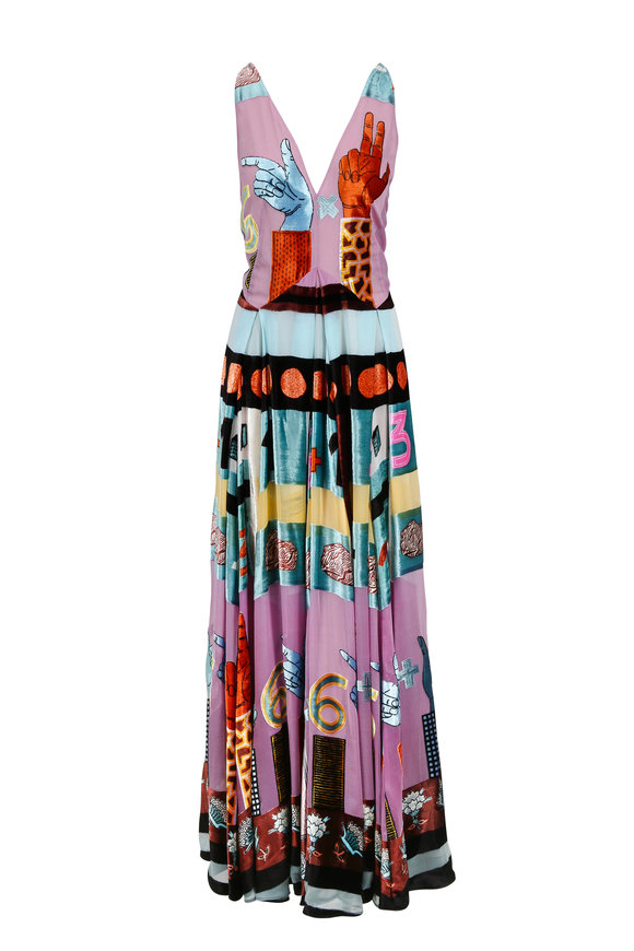 Valentino Multicolor Counting Numbers Sleeveless Gown
