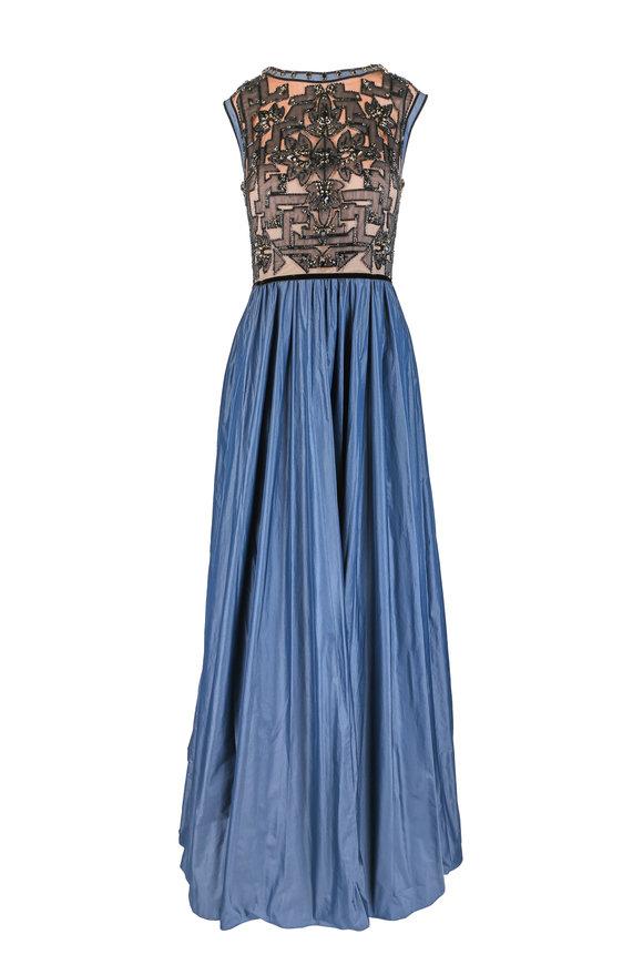 Jenny Packham Black & Blue Taffeta Embellished Sleeveless Gown