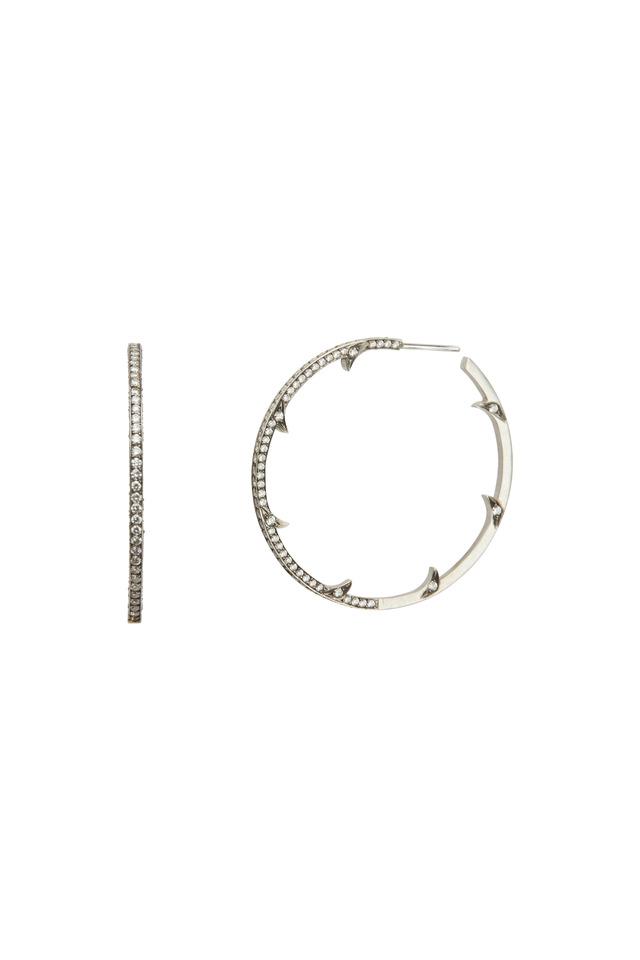 White Gold Thorn Diamond Hoops