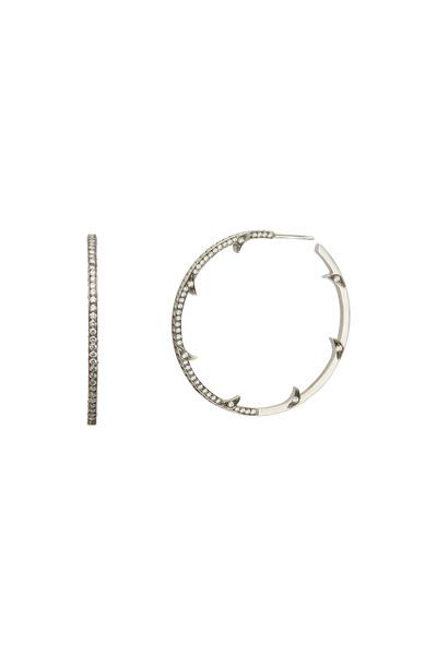 Sylva & Cie - White Gold Thorn Diamond Hoops