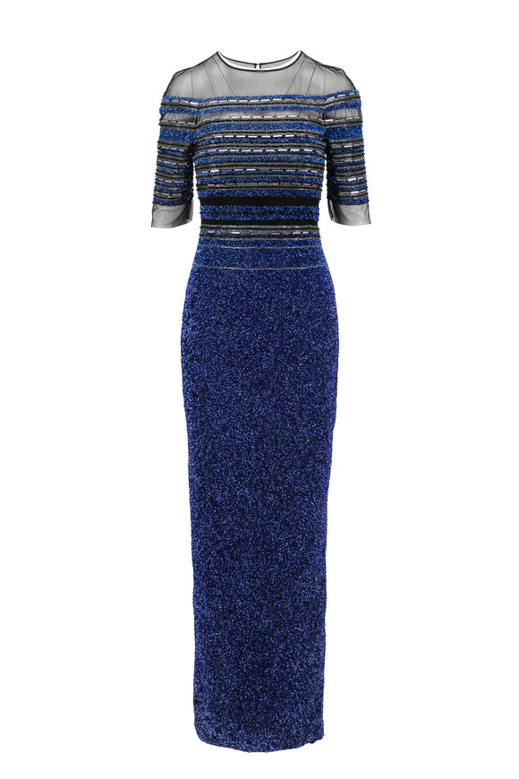 Pamella Roland Electric Blue Signature Sequin Elbow Sleeve Gown